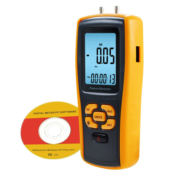 MAN-37 Digital Manometer with USB Interface, Differential Pressure Gauge, Air Pressure Testing Instrument Tester, 11 Measurement Units