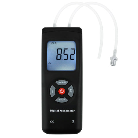 MAN-45 Professional Digital Manometer, Portable Handheld Air Vacuum/ Gas Pressure Gauge Meter 11 Units with Backlight, ±13.78kPa ±2PSI, Suitable for Differential Pressure of 1-2 Pipes, Ventilation, Air Condition System Measurement