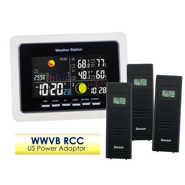 WS-104_US_3S Weather Station IN/OUT Temperature Humidity DCF / WWVB 3 Wireless Remote Sensors