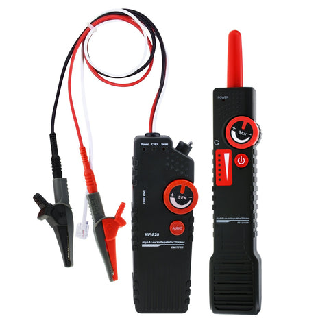 NF-820 Underground Cable Tracker Detector Tester for AC 220V High & Low Voltage, Anti-jamming, Wire Locator with Alligator Clip, Coax BNC telephone RJ11 network RJ45 cable, Multi-core Metal Line