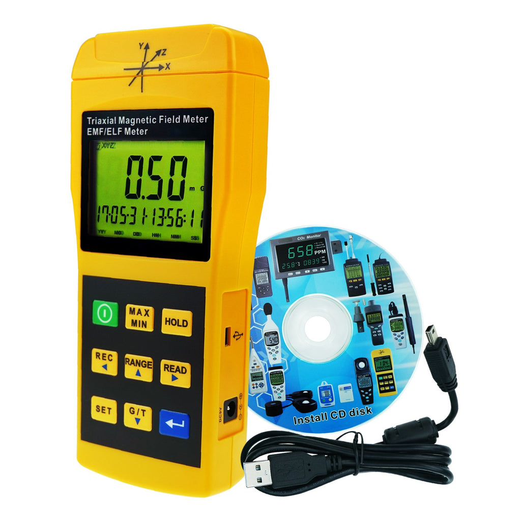 TM-192D Digital  Mini Triple Axis 2000Hz EMF ELF Magnetic Field Meter Gauss Meter 2000mG Datalogger with USB PC Software, Trifield Electromagnetic Field Detector