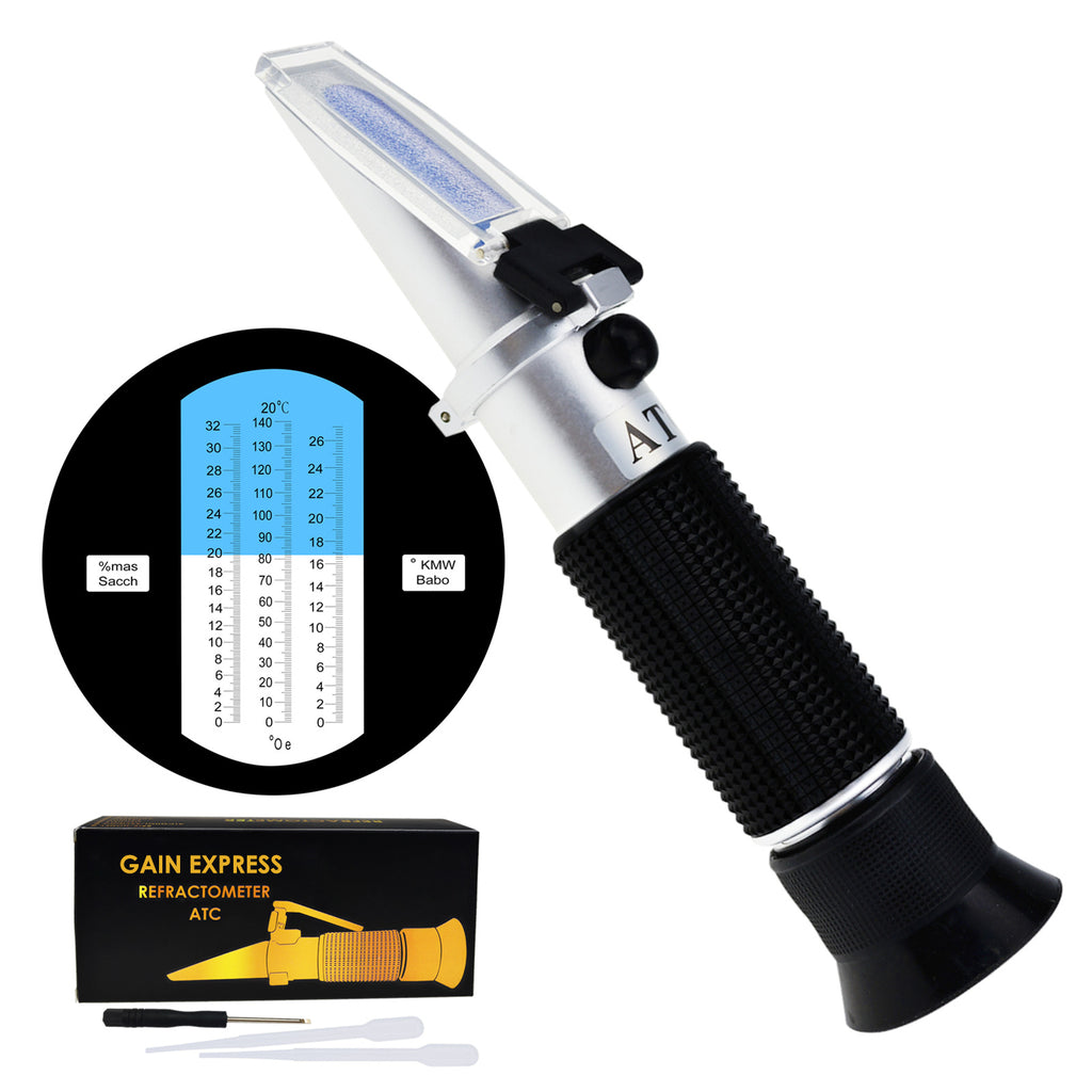 REB-32KMWATC Handheld 0-32% Brix Refractometer with ATC, 0-140°Oe, 0-27KMW/Babo, Oechsle, for brandy, beer worth