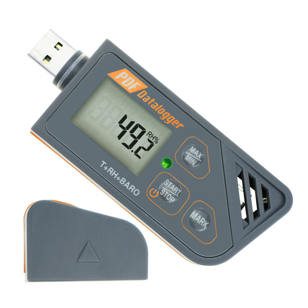 88163 Digital Waterproof USB Datalogger Humidity Temperature and Pressure Barometric Data Logger gauge, generate PDF & Excel report LED indicator