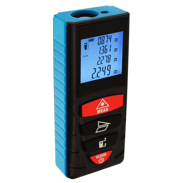 DIS-209 40M (131ft) Digital Laser Distance Meter Measuring Device D8 Rangefinder Measure Telemetro Range Finder with Backlit LCD Screen, Single-distance/ Continuous Measurement Area Pythagorean Modes, +/- 1.5mm High Accuracy