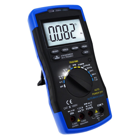 ENG-214 Auto-Ranging LCD Digital Multimeter Engine Analyzer Tester DCV/ACV, RPM Tachometer, Dwell Angle, Current, Temperature, Resistance, Diode Continuity Test, Pulse Width