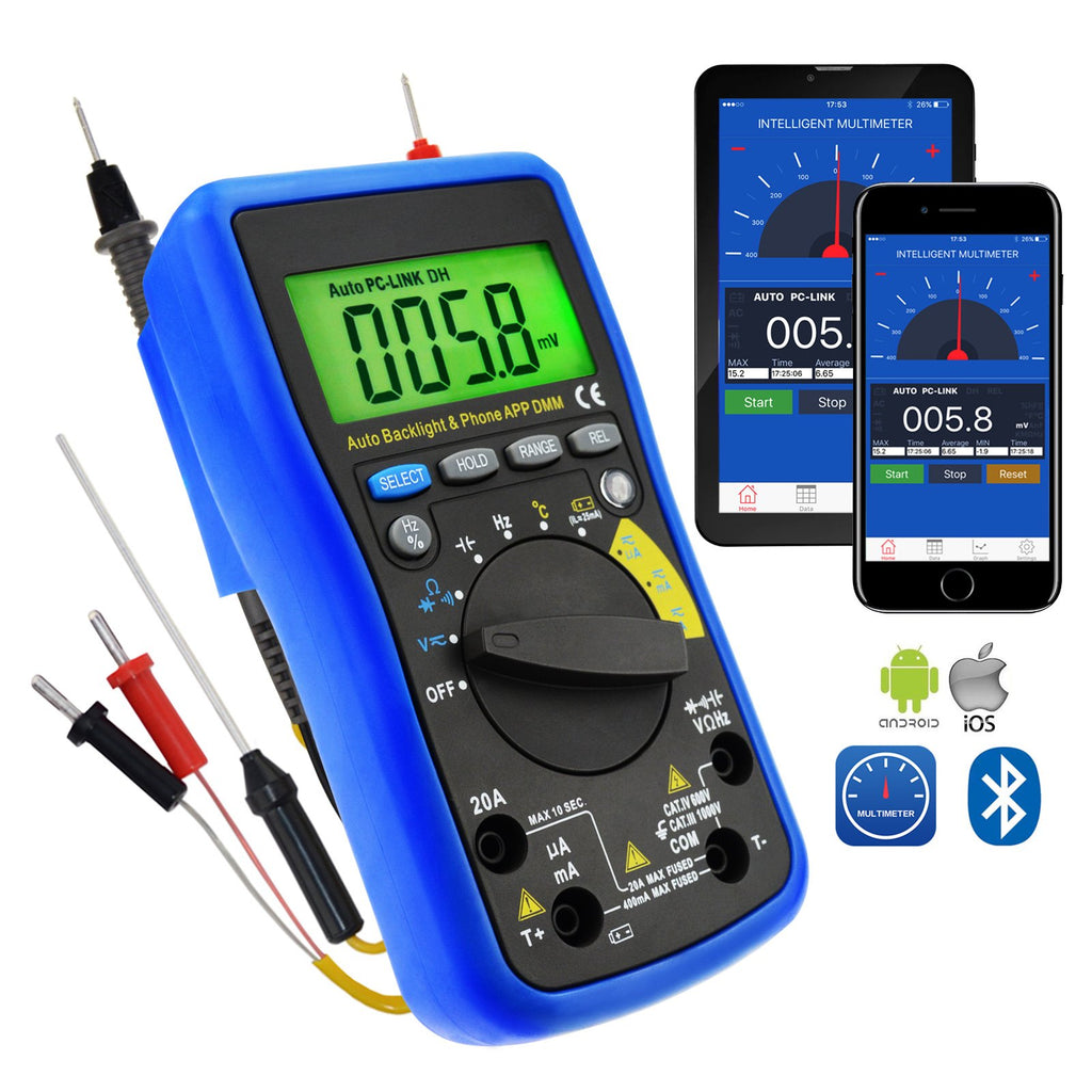 MUL-212 Digital DMM Bluetooth Multimeter with iOS & Android Mobile App Meter Tester