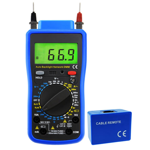 MUL-213 Network Digital Multimeter Tester Multi Meter, Telephone Line RJ11, Cable RJ45, AC DC Voltage, AC DC Current, Resistance, Diode Continuity Test, Battery Meter Tester