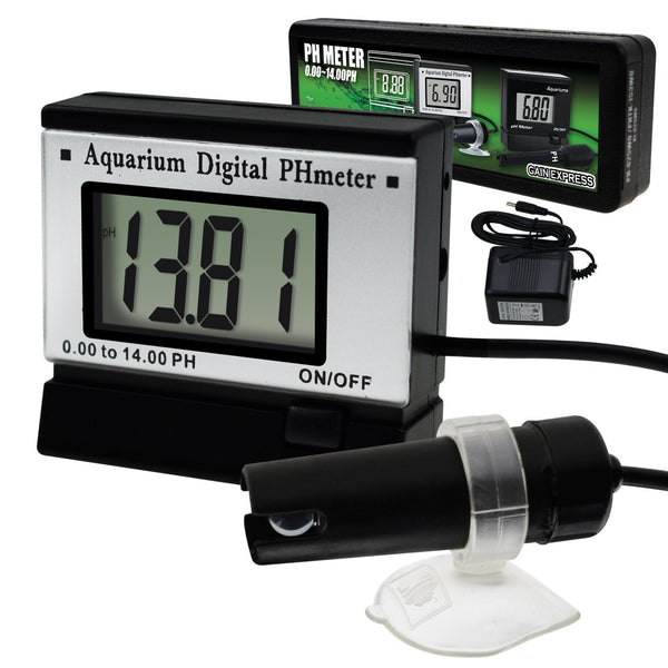 PH-025 Digital pH Monitor Meter ATC 0.00~14.00pH w/ Power Adaptor & 1.5M Long Electrode Probe, Continuous Water Quality Monitoring Tester Kit Aquarium Hydroponics Spa Tank Pool Laboratories Portable