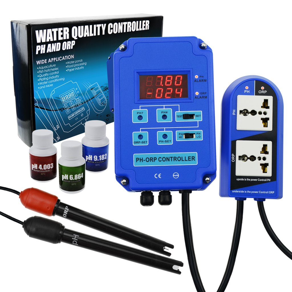 PH-803 DIGITAL PH ORP (2 in 1) CONTROLLER + ELECTRODES + CO2 & O3 Relay 110V/220V