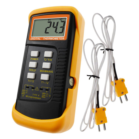 68022 Digital 2 Channels K-Type Thermometer 2 Thermocouples -50~1300°C (-58~2372°F)