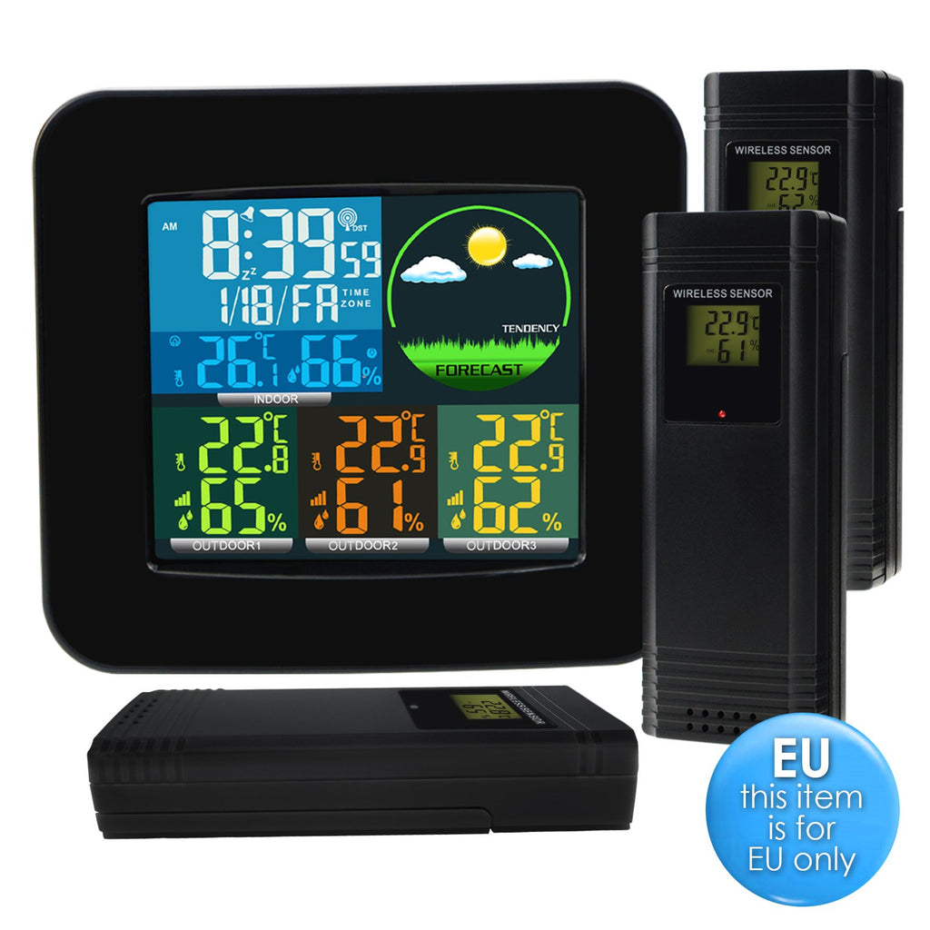 WEA-47_EU Digital Weather Station RCC DCF with 3 Indoor/ Outdoor Wireless Sensors, 6 kinds of Weather Forecast, Thermometer and Hygrometer