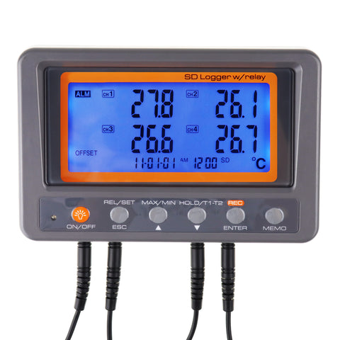 88597 Digital 4 Channels Thermometer NTC Thermistor Probe SD Card Logger with Relay Function Data Logging Big LCD Display