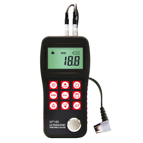MT160 Digital Ultrasonic Metal Fiber Glass Thickness Gauge 0.75 ~ 300mm with USB Communication Port LCD with EL backlight Internal Memory Data
