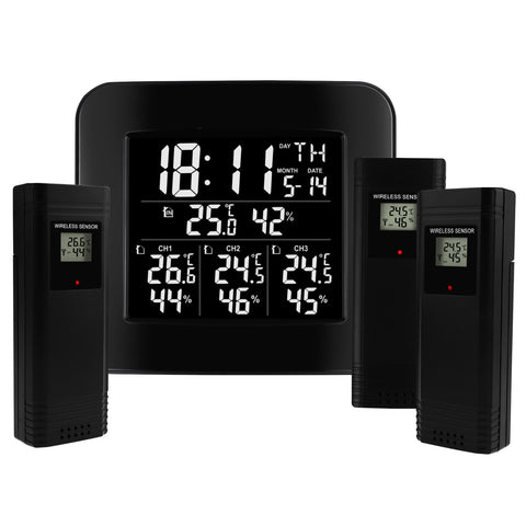 WEA-288 Digital Wireless Weather Station Indoor Outdoor Temperature and Humidity Measure Hygrometer 3 Sensor