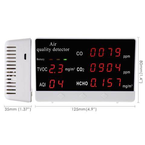 AQM-306 Air Quality Monitor CO2 / CO / HCHO / TVOC / AQI Formaldehyde Detector Rechargeable Accurate Air Gas Tester for Home Office and Various Occasion