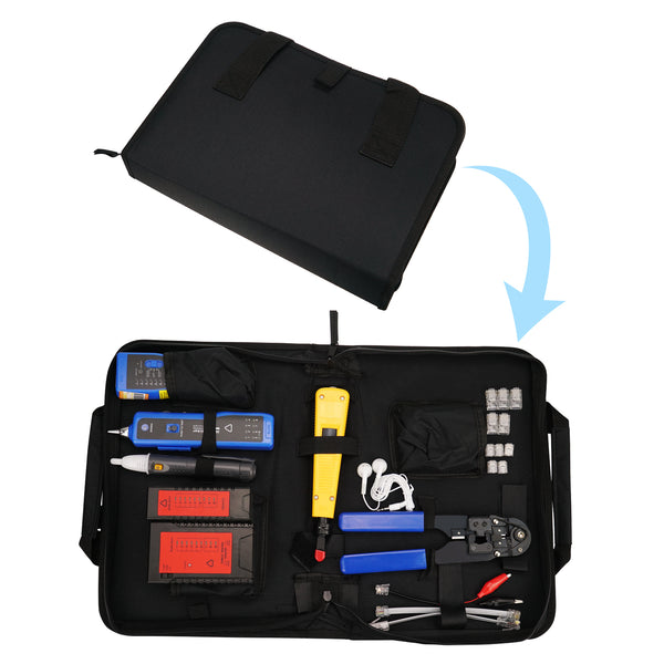 NF-1107 Network Cable Testing Diagnostic Tool Kit Set- Ethernet LAN Cable Tester Wire Tracker Voltage Detector Punch Tool RJ45 RJ11