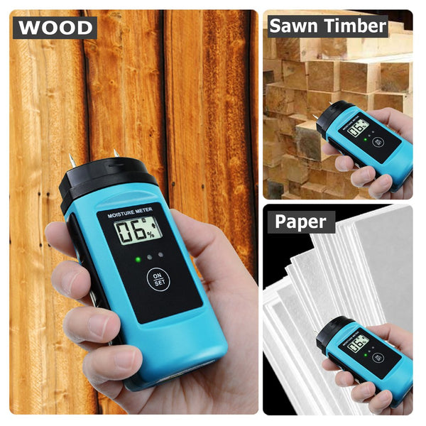 E04-015 Digital Wood & Building Material Moisture Meter Tester w/ LED Indicator, Sawn Timber Cardboard Paper Mortar Concrete Plaster Environment Temperature, for Woodworking Woodworker Handcrafter