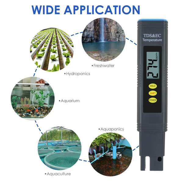 ECM-302 Pentype 2-in-1 TDS / EC Meter with ATC Digital Water Quality Tester Temperature Measurement for Water Analysis Hydroponics Aquaculture