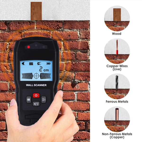 STD-279 Stud Finder Digital Wall Scanner 4 in 1 Wood Live AC Wire Metal Stud Detection