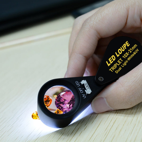 GEM-246 10x 21mm Loupe Jeweler Magnifier LED UV Light Triplet Lens Optical Tool