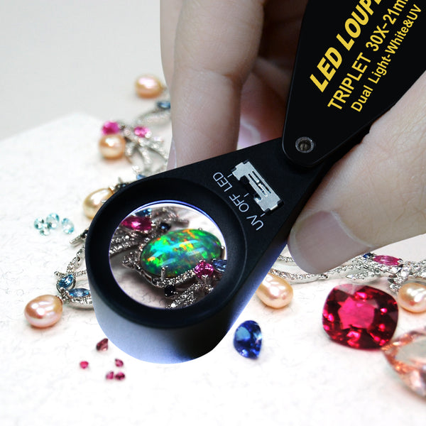 GEM-249 30x Magnification Jewelry Gem Loupe with UV & LED Light 21mm Optical Glass