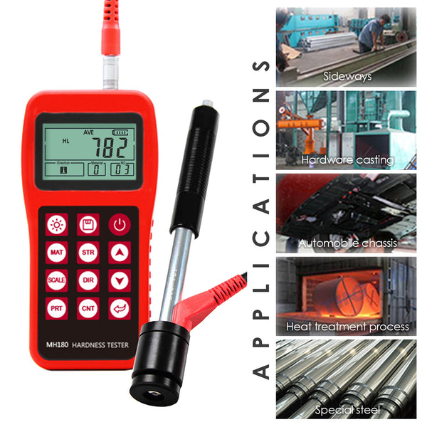 Mitech MH180 Portable Handheld  Leeb Hardness Tester Meter Gauge 170~960 HLD with 100 Group Data Memory LCD EL background light Support Micro printer
