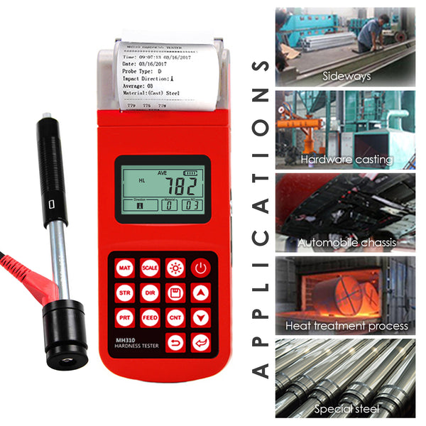 MH310 Portable Leeb Hardness Tester Meter Guage  170~960 HLD Steel Cast Iron LCD EL back-light  with integrated high speed thermal printer