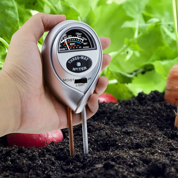 SQM-257 3-in-1 Soil pH, Moisture & Light Meter Tester Probe Sensor, Gardening Plants Growth Watering Quality Monitoring