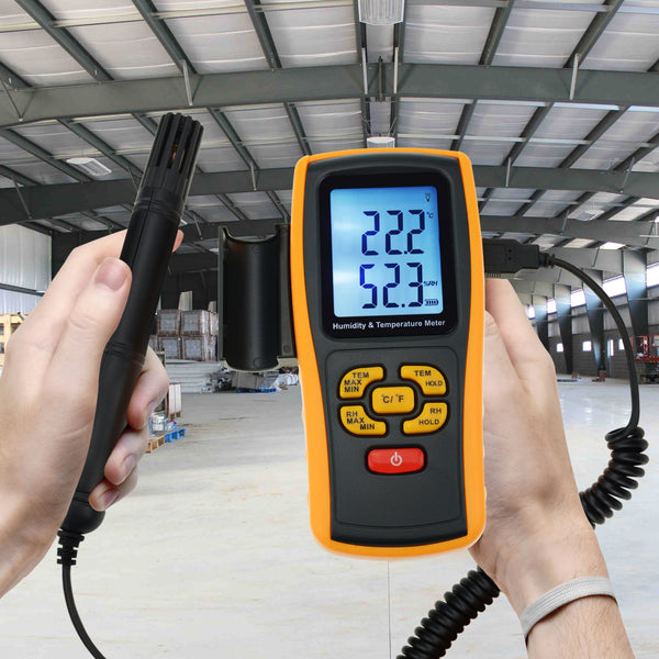 THE-39 Humidity Temperature Meter Gauge w/ Type K Thermocouple Sensor Probe, 10~98%RH, -10~50°C (14~122°F), -30~1000°C (-22~1832°F) K-type