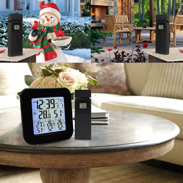 WEA-46 Digital Weather Station with Thermometer and Hygrometer 3 Indoor/ Outdoor Wireless Sensors