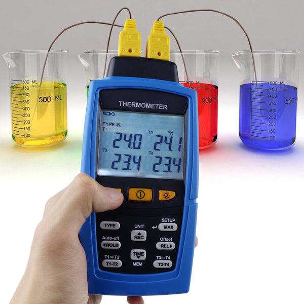 TM-747D Digital 4-Channel K /J/ T / E/ R / S/ N Type Thermocouple Thermometer Datalogger 16,800 Data Logging T1/T2, T3/T4 Input Terminal Data Logger