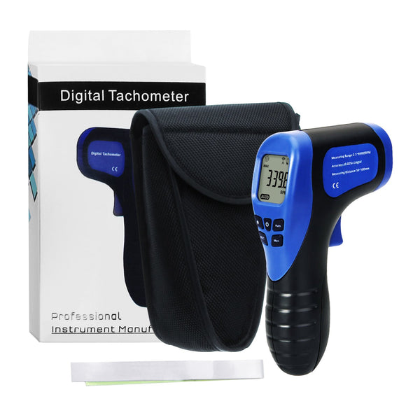 TAC-44 Handheld Digital Laser Non-Contact Tachometer, Rotational Speed Measuring Gun, 2.5-99999 RPM, Record (60 Data) MAX/ MIN/ AVG ±0.02%+1 Digtal Accuracy, Speedometer for Small Engines, Car, Bike, Motorcycle, Surface Speed Tach Meter Gauge
