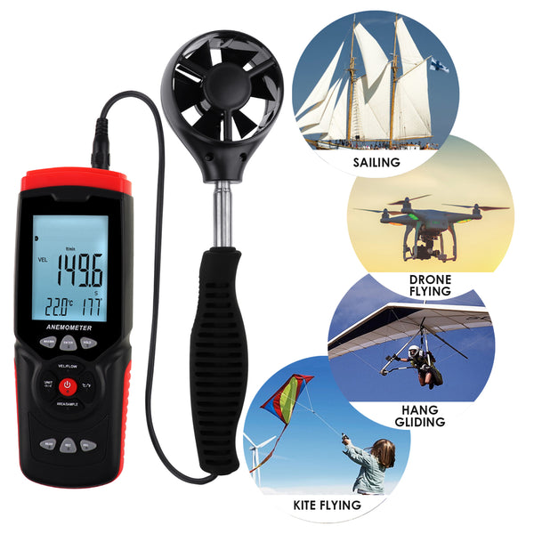 ANE-273 Professional Anemometer Datalogger Wind Speed Velocity Meter Air Flow CFM CMM Air Volume