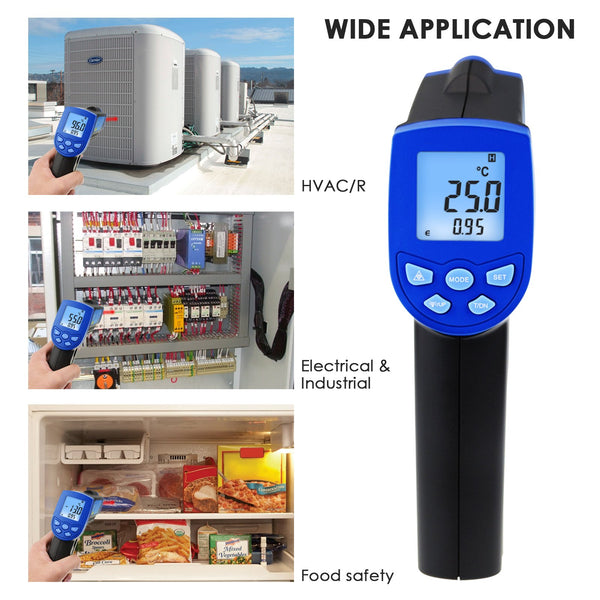 THE-217 Non-Contact Lasergrip Infrared 12:1 DS Thermometer Laser Temperature -30 ~ 550°C (-22 to 1022°F)