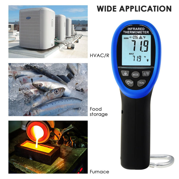 THE-219 Dual Laser IR Infrared Thermometer -50~1500°C (-58°F~ 2732°F), 30:1 DS