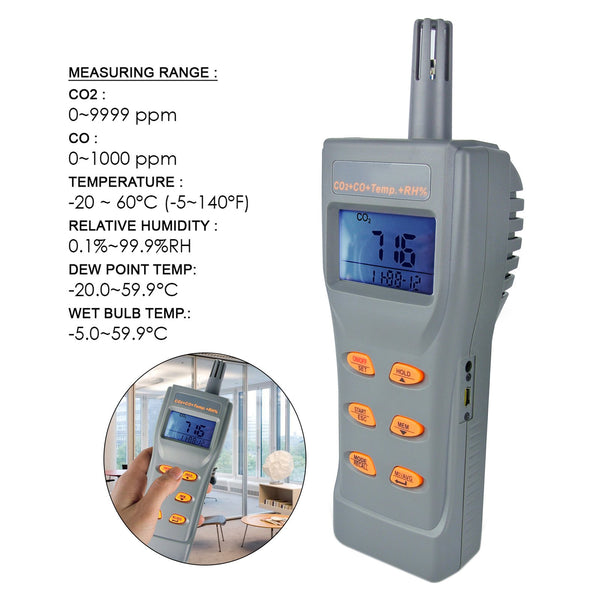77597 AZ Instruments Digital CO CO2 Carbon Monoxide Dioxide RH Humidity Temperature Data Logger Monitor Meter IAQ Tester Datalogger Detector