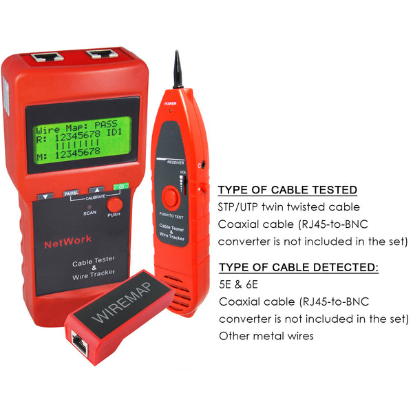 N03NF-8208 Network LAN Cable Tester Wire Tracker Tracer Length