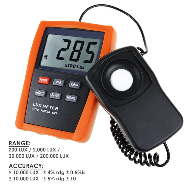 LX-1332B Digital 4 Ranges Lux / Light Meter 0.1~200,000 Lux