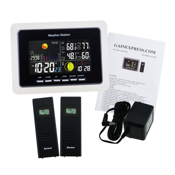 WS-104_EU_2S Wireless Weather Station Temperature Humidity DCF / WWVB 2 Remote Sensors Indoor Outdoor