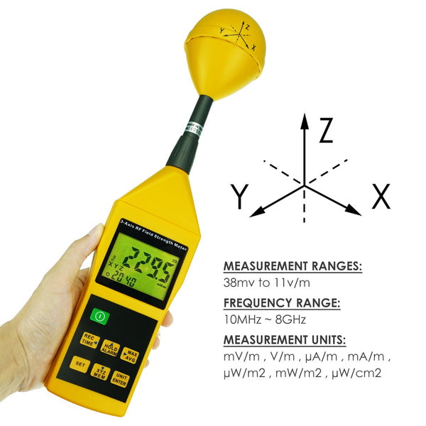 TM-196 Triaxial Tri-Axis RF Field Strength Meter Electromagnetic Radiation Tester Detector 10MHz to 8GHz with Alarm and Tripod Mounting, Compact, MIni