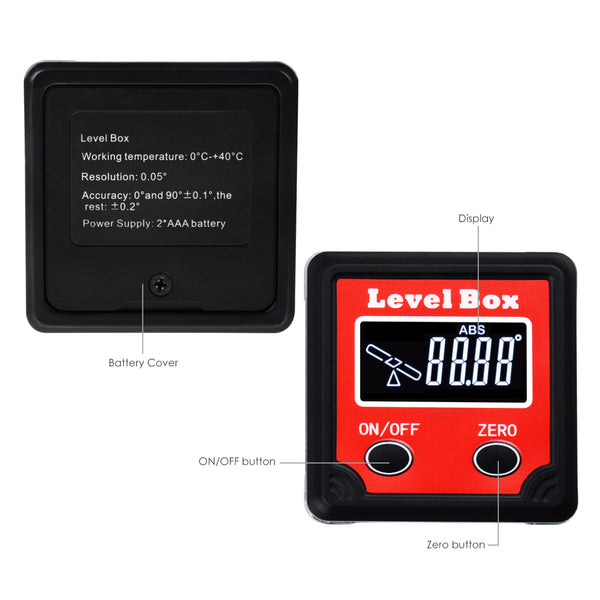 AGF-260 Digital Level Angle Finder Bevel Box Magnetic Base