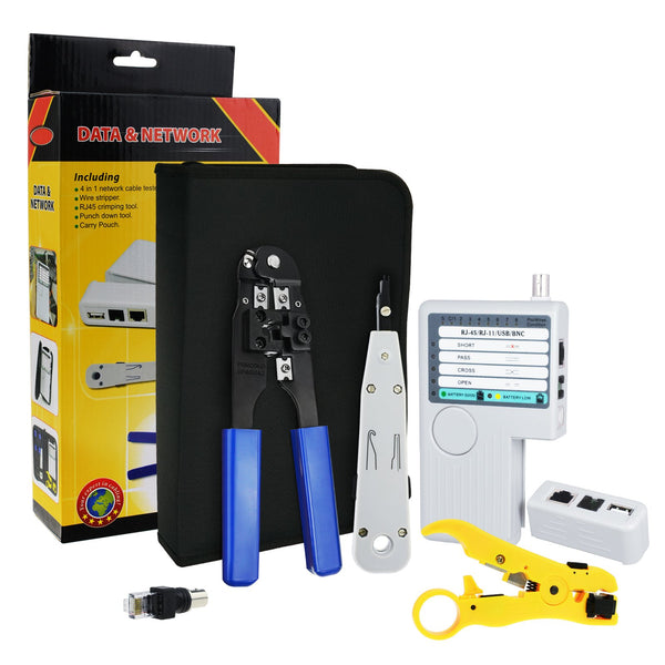 NF-1202 Combo Set Network Cable Tester Tool Kit - Crimping Crimper Tool Punch Down Tool Wire Stripper Cutter, RJ45 RJ11 USB BNC Flat UTP Cat5 Cat6 Coax cable Stripping Universal Tool