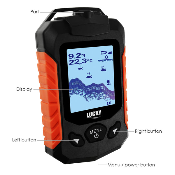 FF-168D LUCKY Portable Fish Finder 100m (328ft) Depth Range Fishfinder Detector Zoom Depth Fish Alarm Ocean Sea Lake River Fishing