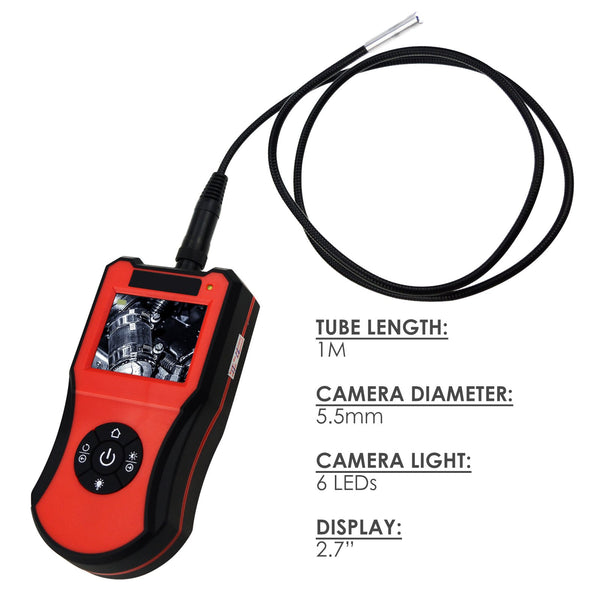 "END-206_5.5mm_1M 2.7"" LCD Screen Monitor Portable HD Industrial Inspection Camera, Borescope, Endoscope, Snake Scope with 1M Waterproof Cable, 5.5mm Camera Head with 6 LED Lights, FREE Carry Pouch"