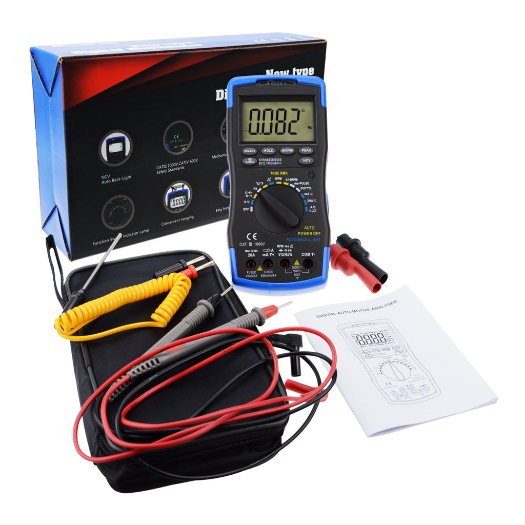 ENG-214 Auto-Ranging LCD Digital Multimeter Engine Analyzer Tester DCV/ACV,  RPM Tachometer, Dwell Angle, Current, Temperature, Resistance, Diode