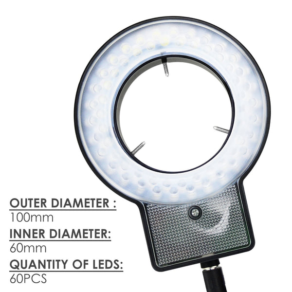 RLT-207 60 LED Microscope Ring Light Scope Illuminator with 4-Zone Quadrant Control, Adapter Fitting and 8 Adjustable Brightness Level 40~60mm Diameter