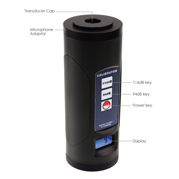 "ND9B Digital Sound Level Meter Calibrator 94dB & 114dB for 1/2"" and 1"" inch Microphone, Noise Decibel Calibration Tool"