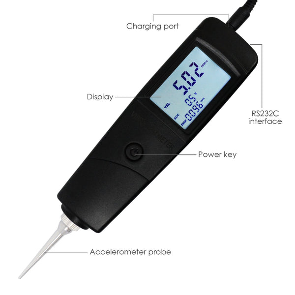 VM-213 Vibration Meter Tester Piezoelectric Sensor Measuring Acceleration, Velocity and Displacement