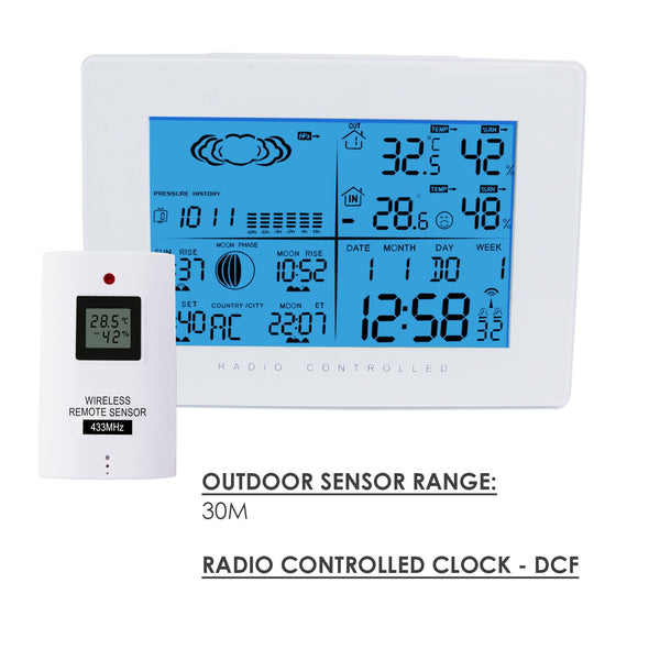 AOK-5019_2S Wireless Weather Station In Out Thermometer w/ RCC Radio Controlled Clock 2 Sensor