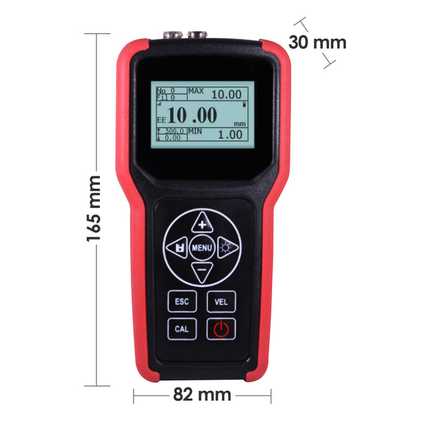 TMG-4001 Ultrasonic Metal Steel Aluminum Glass Fiber Thickness Velocity Gauge Meter Tester with Backlight Internal Memory 100000 LCD